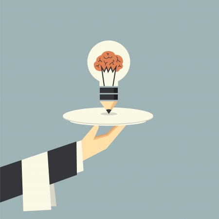 Serving light bulb with brain vector Illustration