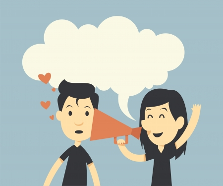 Happy couple in love with megaphone and bubble speech