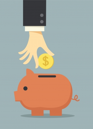 business hand saving money in piggy bank Vector