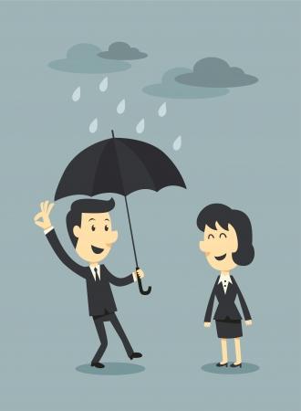 Geschäftsmann mit Regenschirm und Wolke Standard-Bild - 22793420