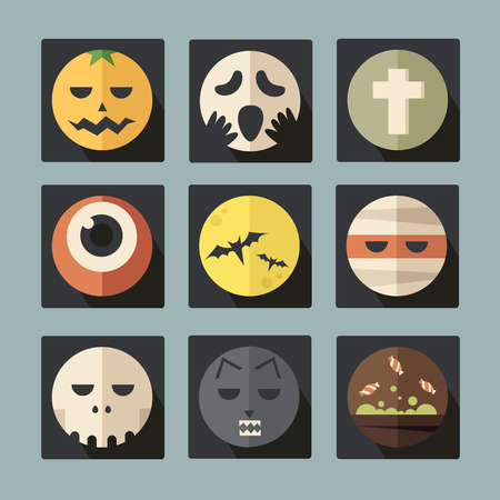 jack pot: Set iconos plana Halloween, vector