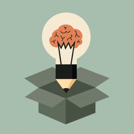 Think out of the box concept, idea light bulb with brain Illustration