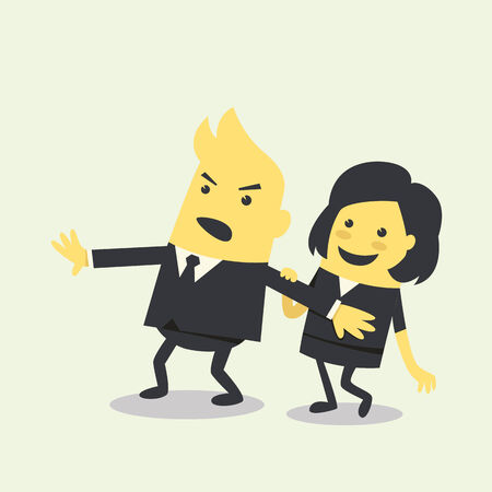 businessman protect with businesswoman Vector