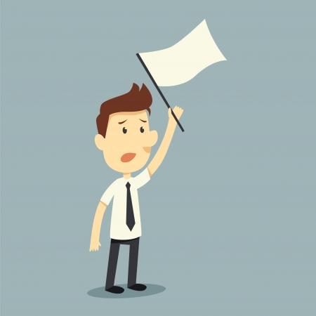 businessman hold white flag of surrender