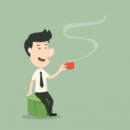 コーヒーカップ: ビジネスマンのコーヒー カップとリラックス  イラスト・ベクター素材