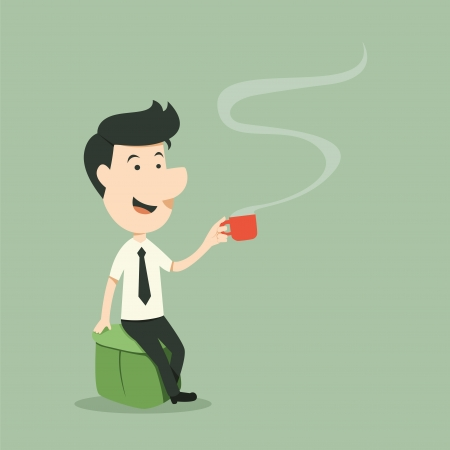 businessman relaxing with coffee cup Illustration