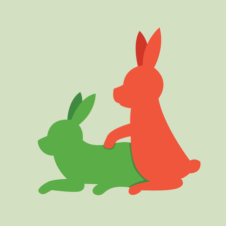 Rabbits animal sex, vector icon