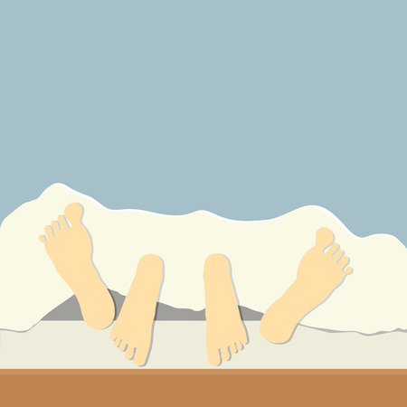 couple in bed, focus on feet  Vector