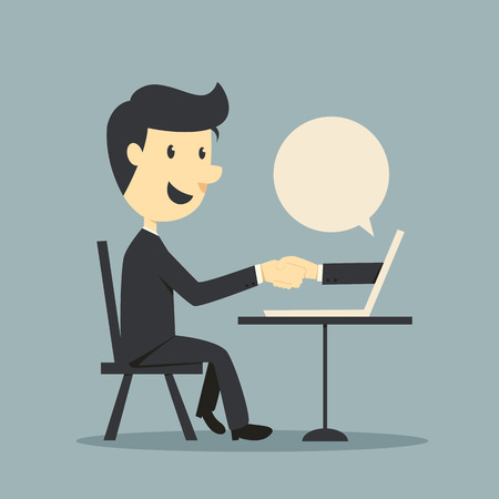 Online Business Deal with business man Illustration