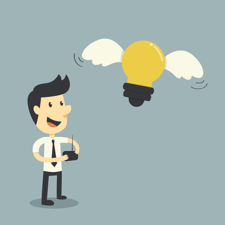 Businessman control lightbulb, freedom ideas concept Vector