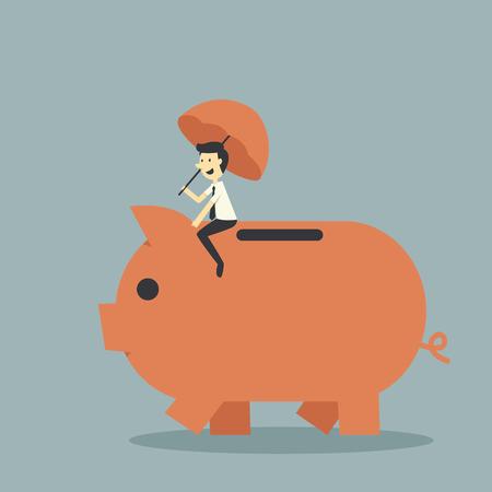protect piggy bank Vector