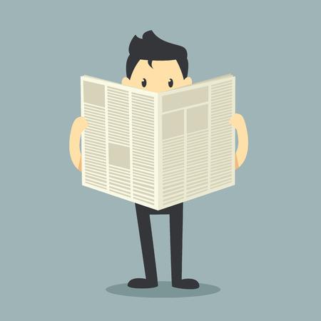 tabloid: businessman reading a newspaper  Illustration
