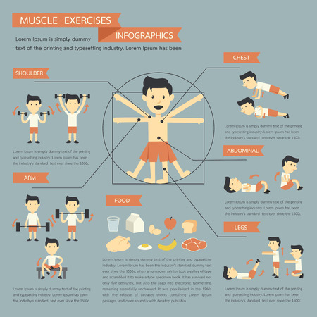 Muscle Exercises infographics Vector
