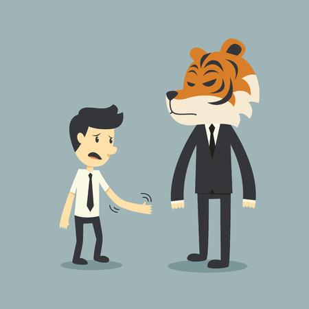 inconstant: Businessman handshake wite businesstiger Illustration