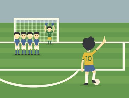 Brazil football player freekick Illustration