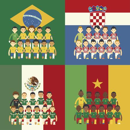 Football team and flag, Group A Illustration