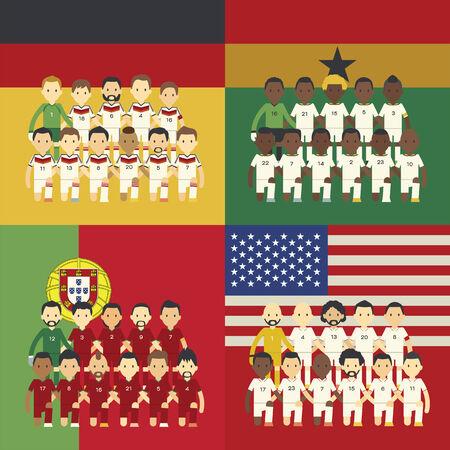 Football team and flag, Group G Vector