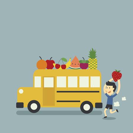 grade school: school bus and fruit