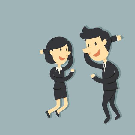 cansancio: Pareja de negocios se relaja Vectores