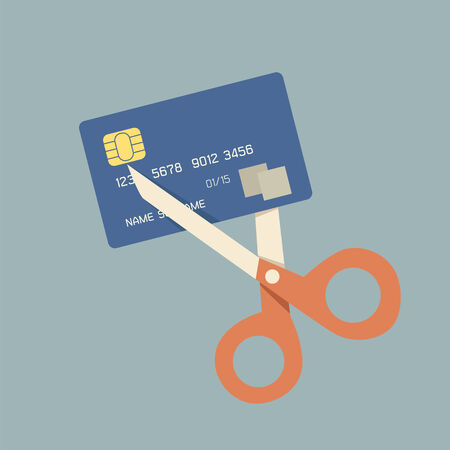 ciphers: cutting up credit card with scissors Illustration