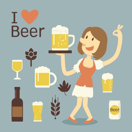 blau weiss: girl serving beer Illustration
