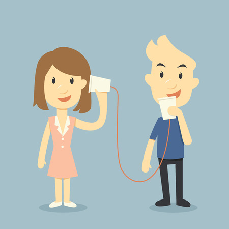 telephone receiver: talking with cup telephone, valentine day concept Illustration