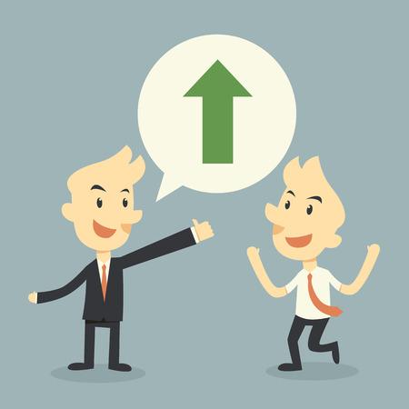 marketting: businessman growing chart Illustration
