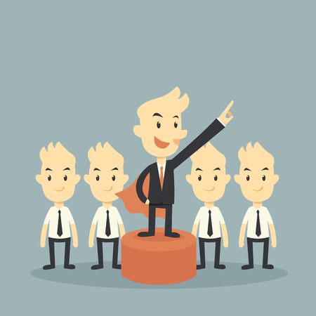 follow the leader: super businessman leader concept