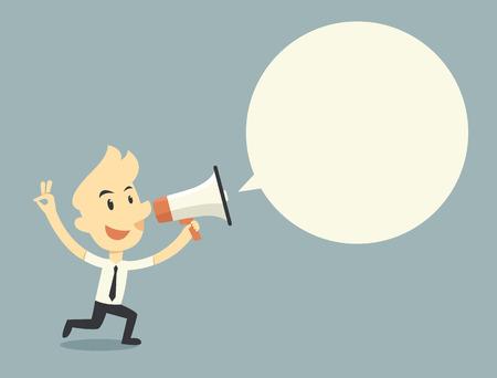 Businessman holding megaphone with bubble speech Illustration