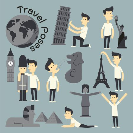 Travel Poses infographic elements and world landmark