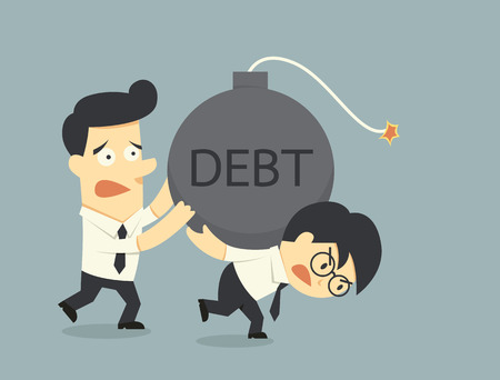 debt management: businessman carry debt
