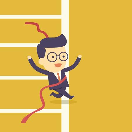 finish: Businessman crossing finish line