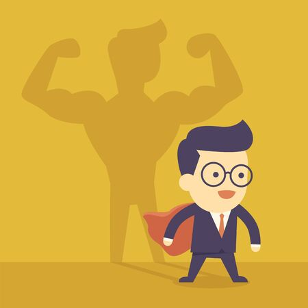 arm muscles: Businessman casting strong man shadow
