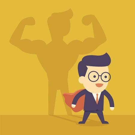 shadow man: Businessman casting strong man shadow