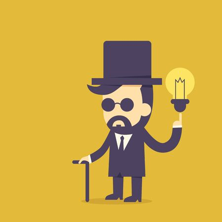 Vintage Businessman and idea bulb Illustration