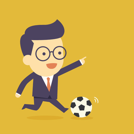 manager team: Businessman play football Illustration