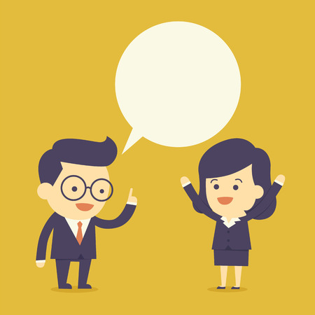 bubble people: Business people talk with bubble speech