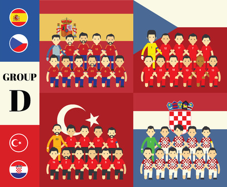 vecter: Players team with flags set