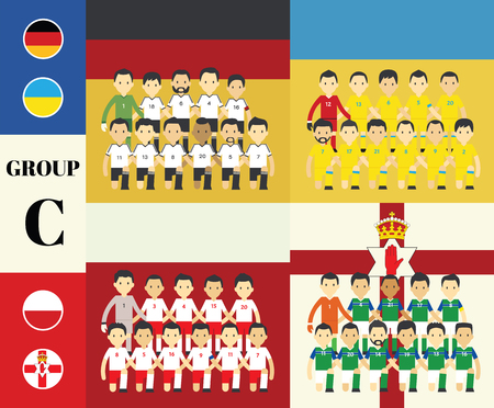 soccer player: Players team with flags set