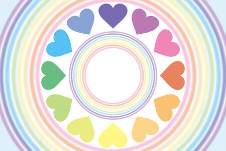 Background wallpaper  a rainbow, a heart rainbow, rainbow color, 7 color, a heart pattern, and a pastel color Banco de Imagens - 28966317