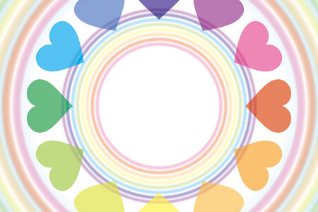 Background wallpaper  a rainbow, a heart rainbow, rainbow color, 7 color, a heart pattern, and a pastel color     Vector