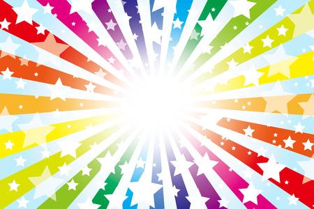 Background Material wallpaper   Design pattern of stars, radial, vortex, stars, star pattern, star, rainbow, rainbow colors, seven colors,