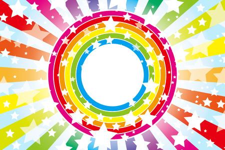 Achtergrond materiaal behang ontwerp patroon wiel van de regenboog, regenboog, regenboog kleuren, zeven kleuren, sterren, ster, ster patroon, het aantal sterren, Stock Illustratie