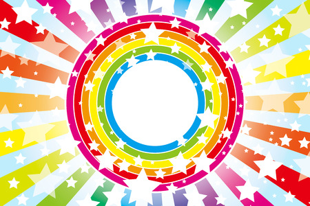 Background Material wallpaper   Design pattern wheel of the rainbow, rainbow, rainbow colors, seven colors, stars, star, star pattern, number of stars,   Illustration