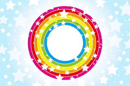 Background Material wallpaper   Design pattern wheel of the rainbow, rainbow, rainbow colors, seven colors, stars, star, star pattern, number of stars,   Vector