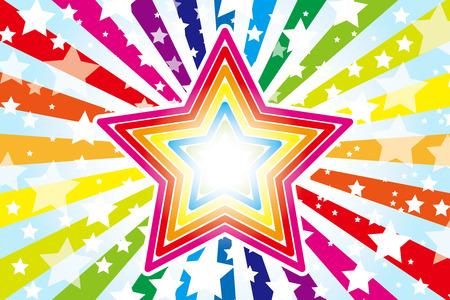 背景素材壁紙デザイン パターンの大きな星、星、星、スター パターン、星、虹、虹の色、7 色