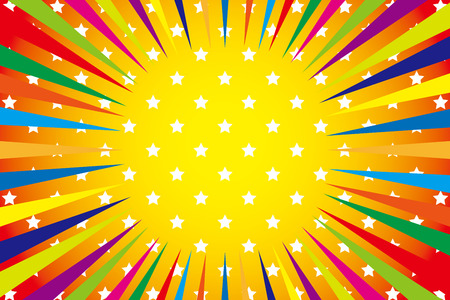 exciting: Background Material wallpaper  (Radiation of iridescent stars, lively spirit) Illustration