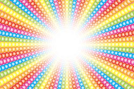 背景壁紙素材 (多く、虹、七色の虹色小球の放射)