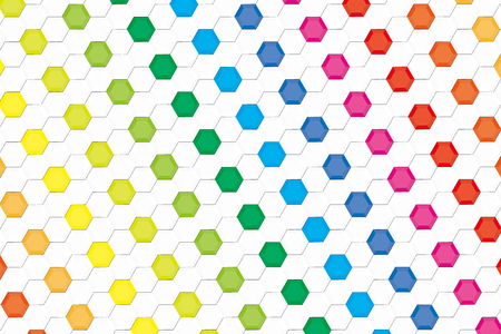 Background material wallpaper, rainbow colors, hexagonal, tile, advertising, publicity, commercial, promotional, sales promotion, avatar, profile, flyers, posters, icon Vector