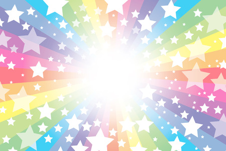Background material wallpaper, rainbow, rainbow, rainbow, rainbow, sparkling stars, glitter, star, star, radial, party, colorful, happy, happiness, joy, heaven Stock Illustratie